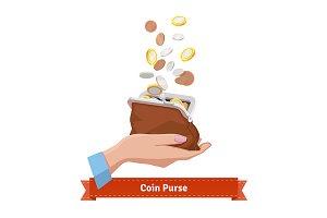 Coin rain to a purse