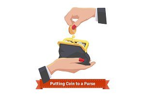 Hands putting coin to a purse