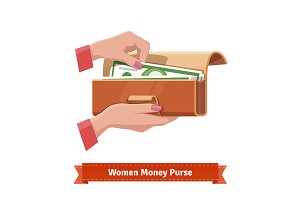 Woman money purse