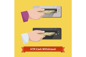 hand putting cach to a ATM validator