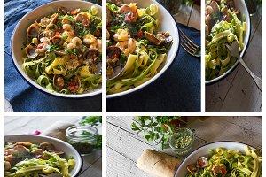 Collage Delicious Italian pasta