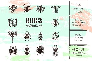 14 hand-drawn bugs set & patterns