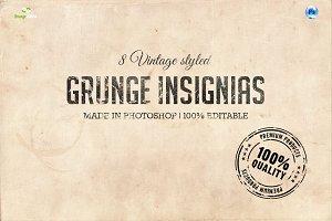8 Stamped Vintage Insignias