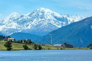 Reschensee alpine view (Italy).