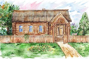 Watercolor hut house in village