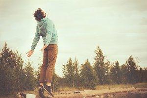Man Flying Levitation outdoor