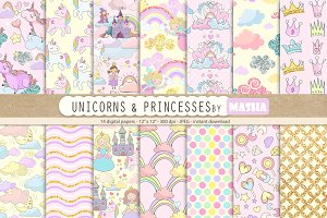 UNICORNS & PRINCESSES digital papers