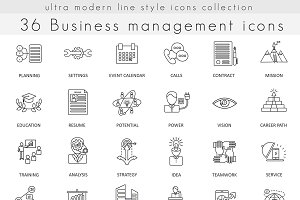 36 Business management line icons