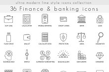 Finance & banking line icons set.