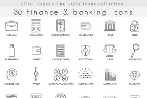 Finance & banking line icons set.
