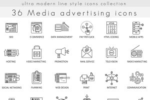 36 Media advertising line icons set