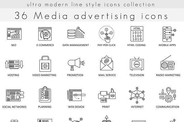 36 Media advertising line icons set