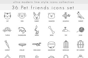 36 Pet friend line icons set.