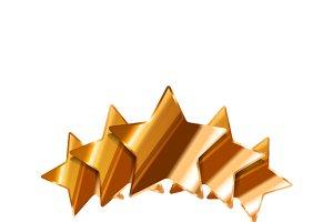 Five glossy bronze rating stars