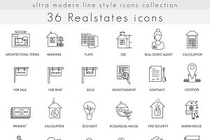 36 Real estates house line icons set