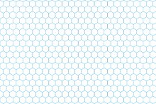 Cyan hexagon grid on white pattern