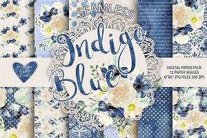 Watercolor Peony Indigo Blue