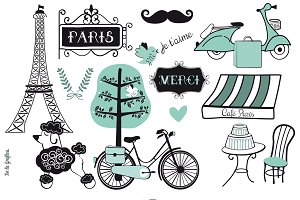 Paris Doodles Set Blue