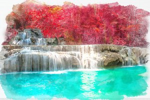 waterfall watercolor