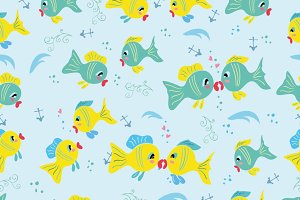 Childish pattern with cartoon fishes