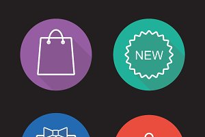 Holiday shopping icons. Vector