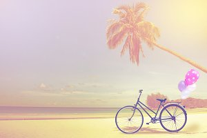 vintage bicycle on white sand beach
