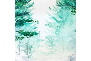 Watercolor winter wood forest