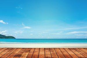 blue sea and white sand