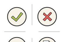 Digital symbols icons. Vector