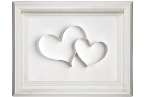 Paper hearts in picture frame