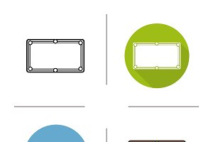 Billiard table icons. Vector
