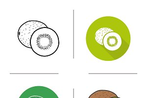 Kiwifruit icons. Vector