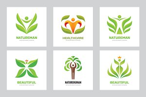 Nature and Human Vector Logo Set
