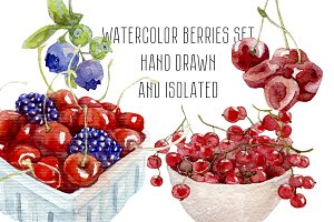 Watercolor Hand drawn berries set