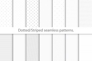 Dotted/striped seamless patterns.