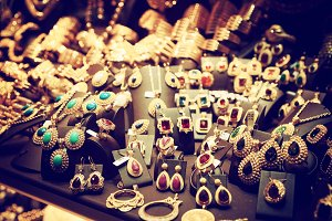 Jewelry market, toned image