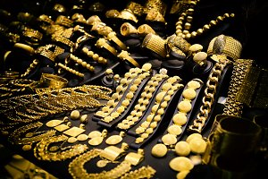 Window display of jewelry shop