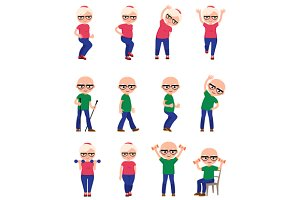 Elderly people do sports exercises