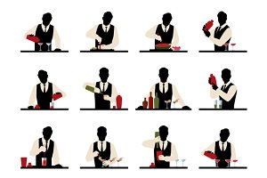 Set of silhouettes of a bartender