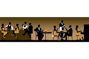 Silhouettes of people in restaurant