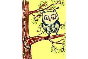 Yellow owl on the tree vector sketch