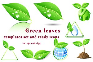 Green leaves templates set and icons