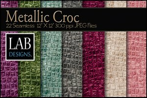 22 Metallic Croc Fabric Textures