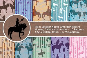 Indians Horses Spears Tribal Pattern