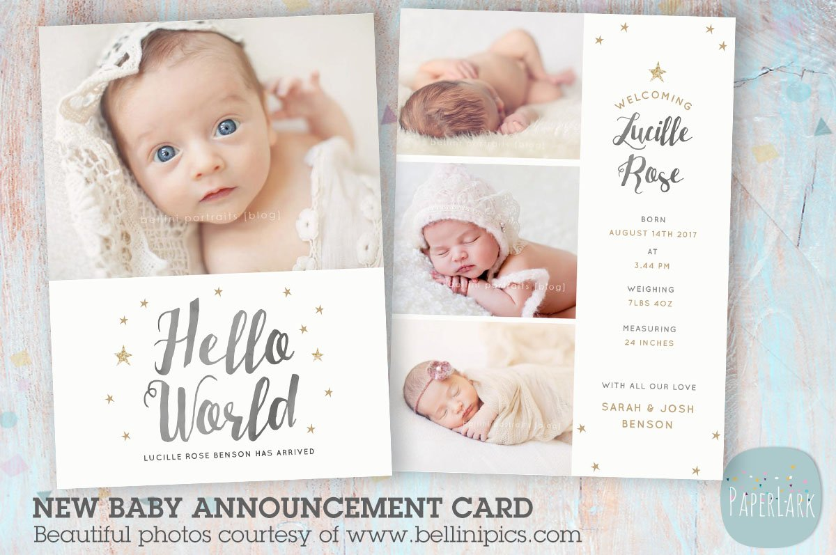 an009 newborn baby card announcement card templates creative market - New Born Baby Card