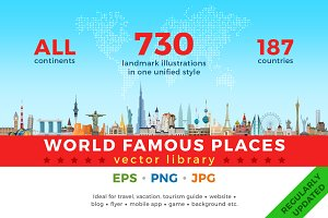 World Famous Places vector library