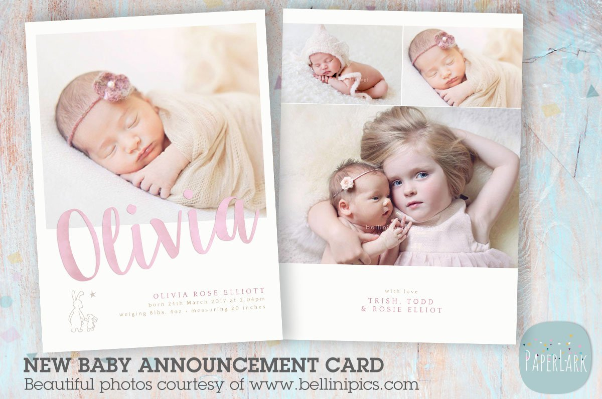 an011 newborn baby card announcement card templates creative market - New Born Baby Card