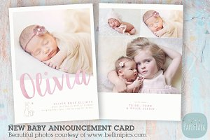 AN011 Newborn Baby Card Announcement