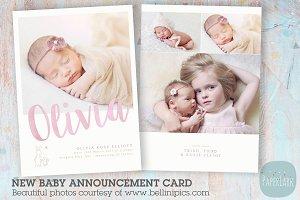 AN011 Newborn Baby Card Announcement