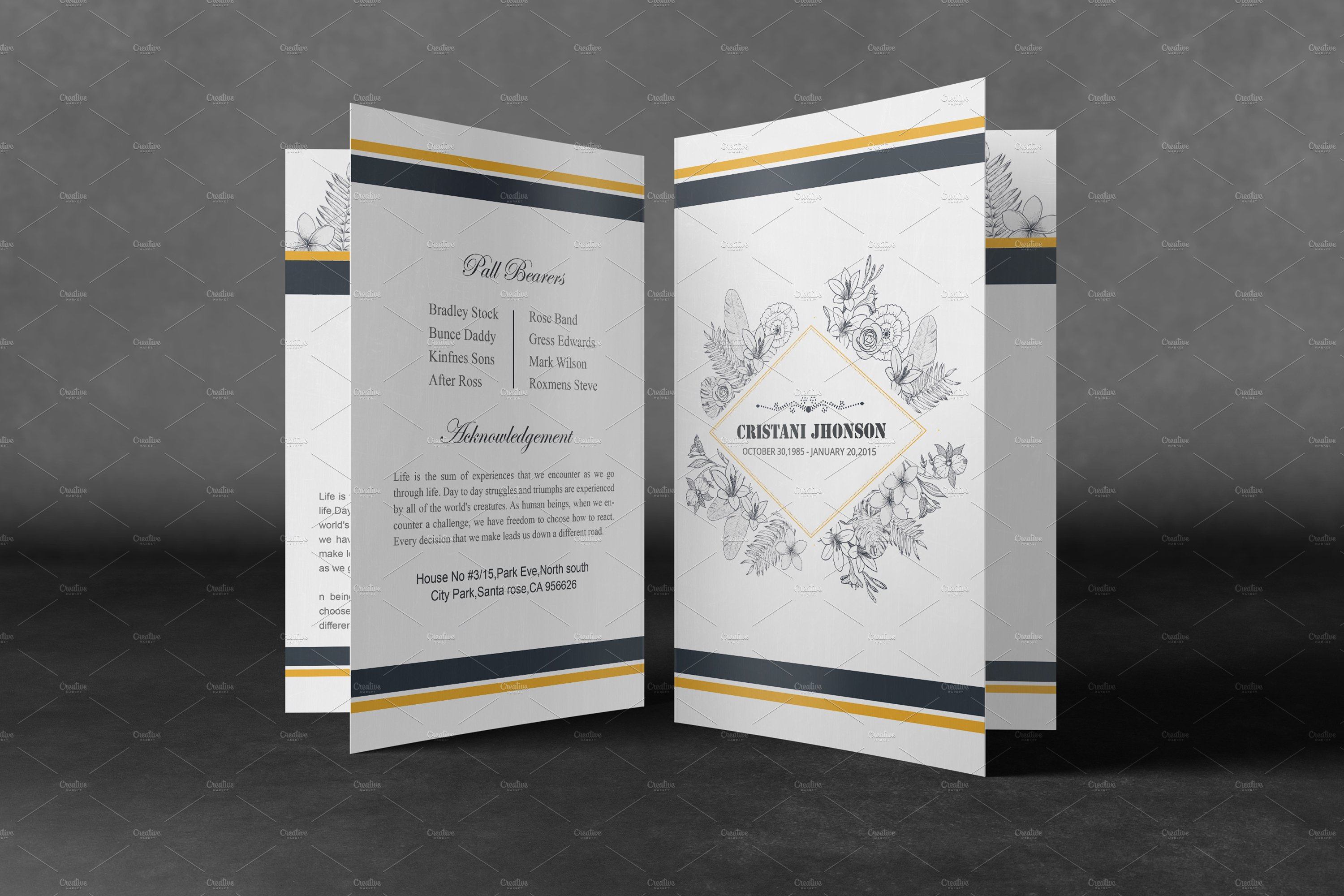 Printable Funeral Program Template ~ Brochure Templates ~ Creative ...